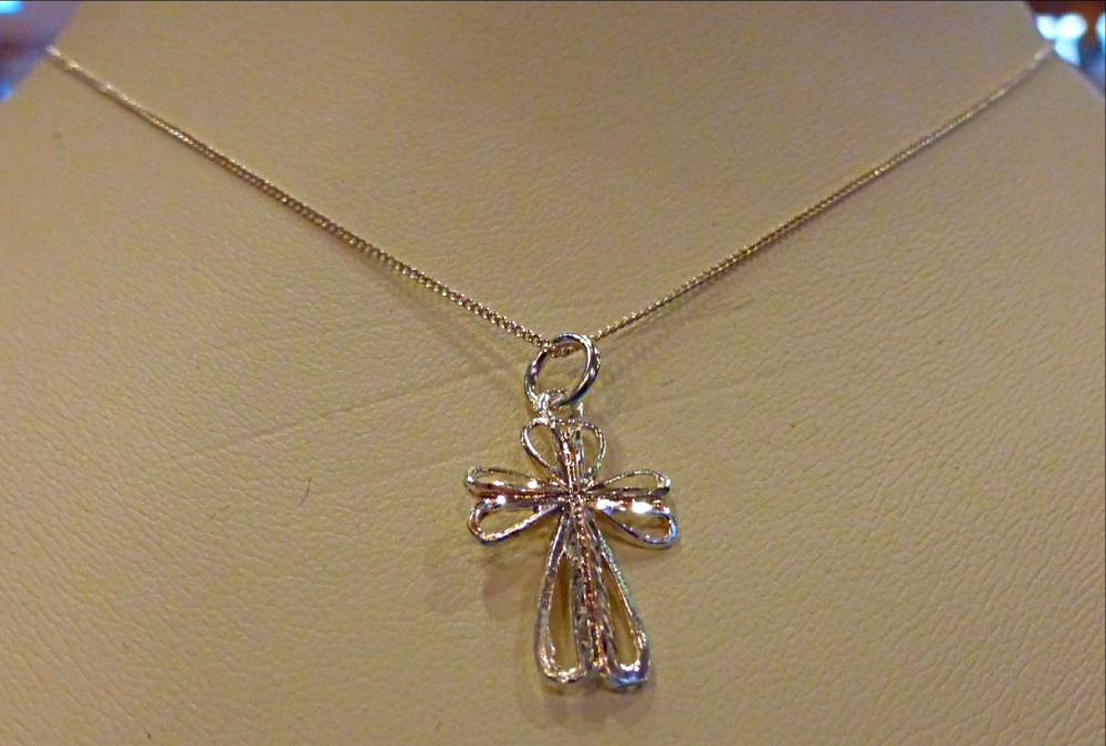 Silver Petal Cross Necklace